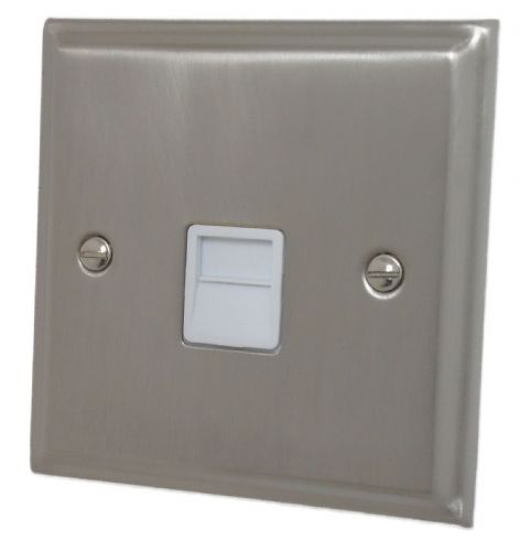 G&H DSN34W Deco Plate Satin Nickel 1 Gang Slave BT Telephone Socket